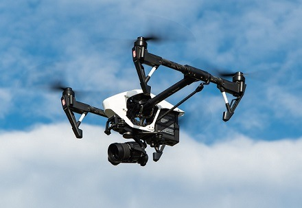 Picture of a drone with a camera attached