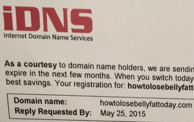 Picture of internet domain name service letter scam