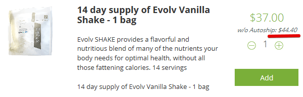 Evolv Health Products- The Vanilla shake