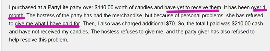 Partylite hostess does not honor the order