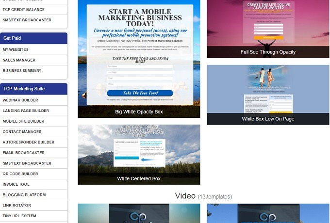 A sample of some of the landing page templates at the conversion pros
