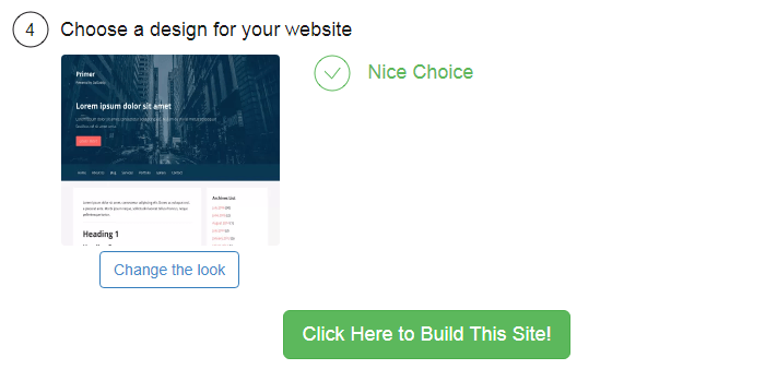 Chose your theme at site builder and then you are done