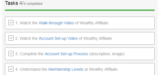 The checklist, to show you that you have completed all task at Wealthy Affiliate
