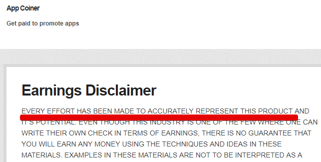 Appcoiner scam Appcoiner Disclaimer is Dishonest