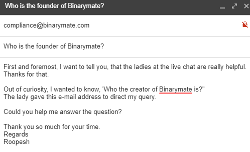 Trying to find out who the founder of Binarymate is?