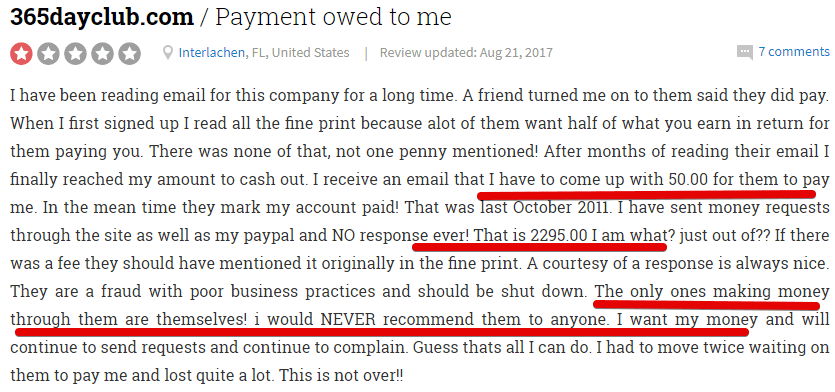 365dayclub customer complaints