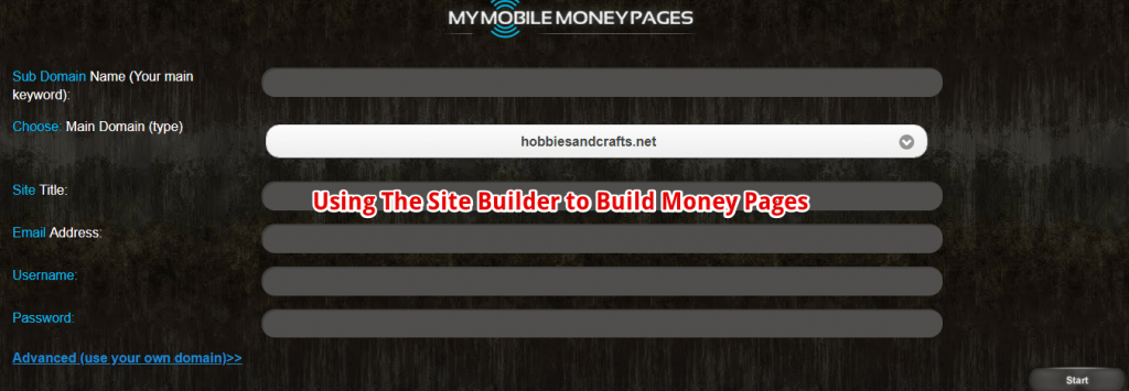 How does the site builder works in my mobile money pages