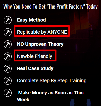 The profit factory marketing is misleading. the profit factory review