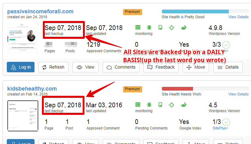 SiteRubix does daily back-ups of all your sites
