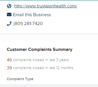 Truvision health review  customer complaints