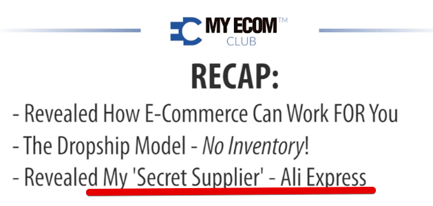 My Ecom Club review is ali express really a secret supplier