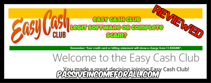Easy Cash Club review or SCAM