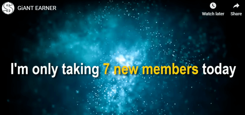 Giant Earner review only taking in 7 new members