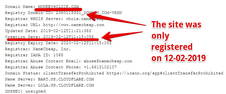 Moneey4click.com is scam as the site was only registered on 12-02-2019
