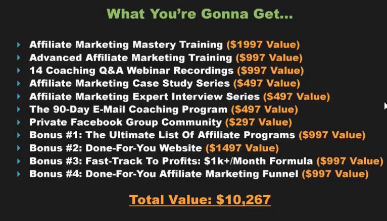 Is Affiliate Marketing Mastery a Scam how much does it costs