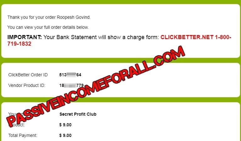 Secret Profit Club Review proof of purchase