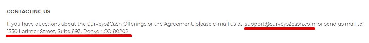 Surveys2cash review contact details