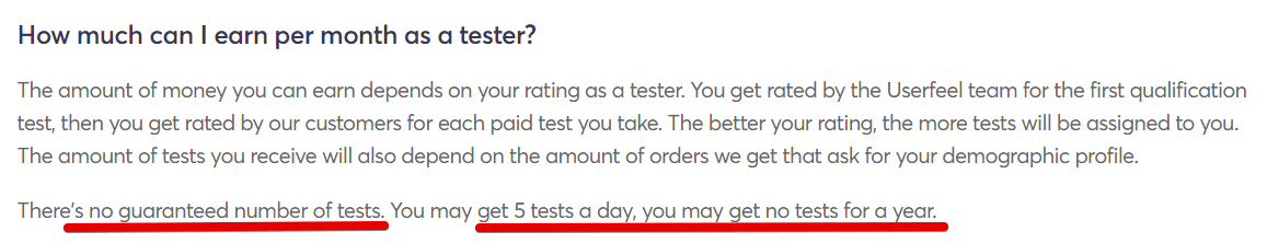 Userfeel review no set amount of jobs