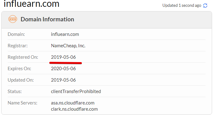 Influearn.com is a scam as the domain name was bough in june, fake payment proofs