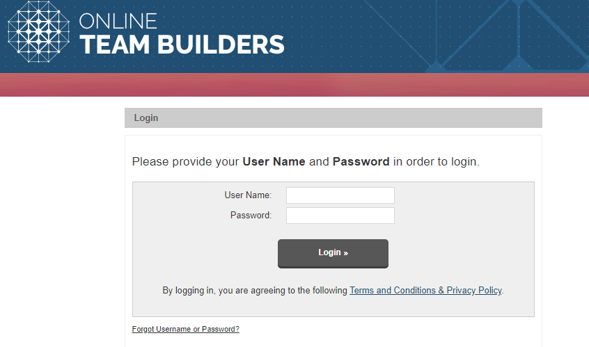 Online Team Builder review how does the login page look