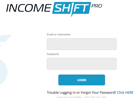 Income Shift pro login page
