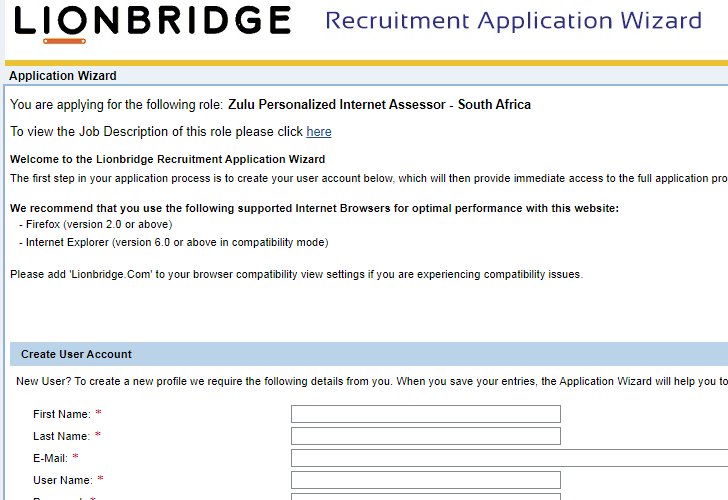 The smart crowd  lionbridge application wizard form