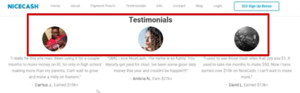 NiceCash testimonials are fake