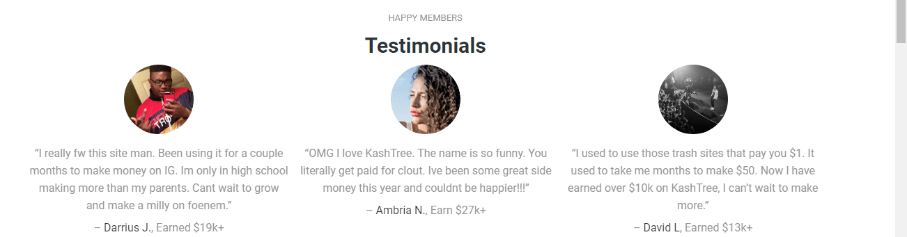 Kashtree is a scam as they have fake testimonials