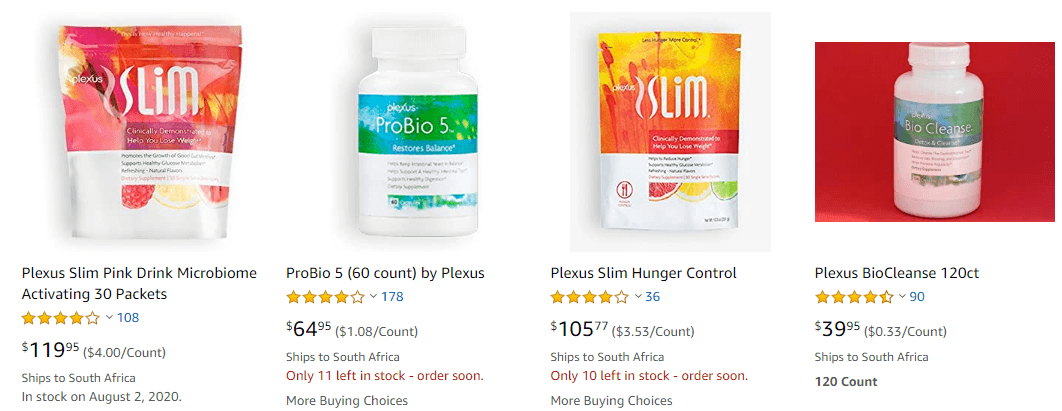 Plexus products are not exclusive to the site