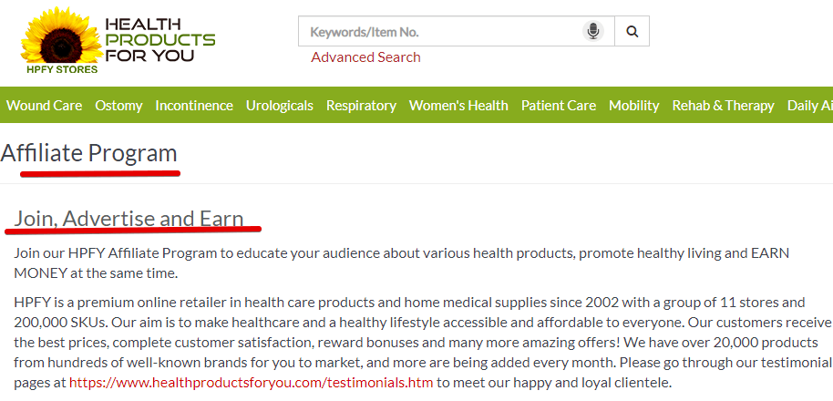 Health Products for you affiliate program