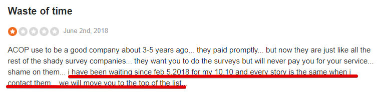 American Consumer Opinion shows that you as survey panelists have to wait very long for your next payment