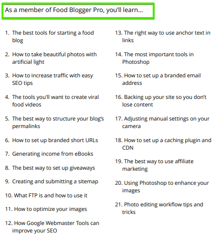 What is covered in the Food Blogger pro course