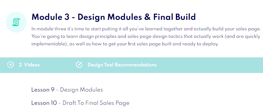What is Sales Page Blueprint Module three all about