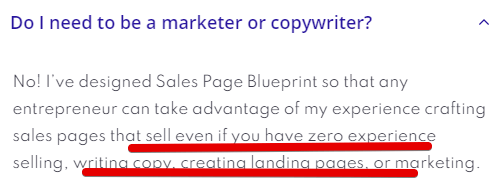 Sales page blueprint objection addresed