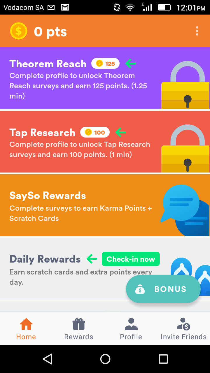This is a screenshot of the four main area of activities of the cashkarma app