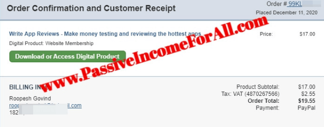Writeappreviews my proof of payment