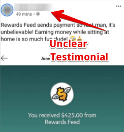 Rewardsfeed is a scam with unclear testimonials